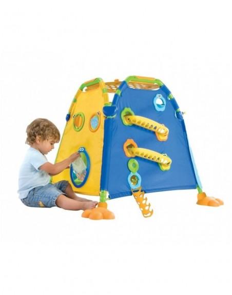 Seite 3 des Spielhauses in Gelb mit Kind