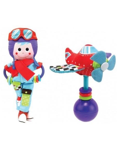 Rassel-Set Pilot mit Flugzeug